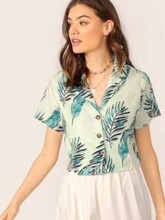 V-Neck Button Up Tropical Leaf Print Crop Shirt
