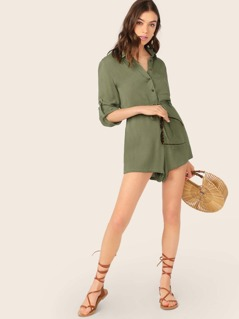 Button Up Front Pocket Quarter Sleeve Romper