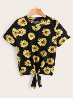 Knot Hem Sunflower Print Tee