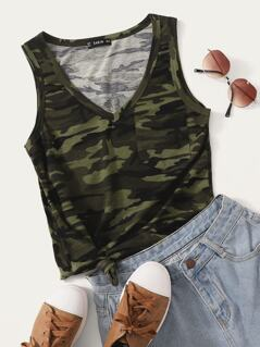 Pocket Front Camo Tank Top