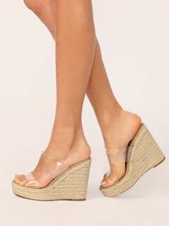 Double Transparent Band Jute Platform Wedges