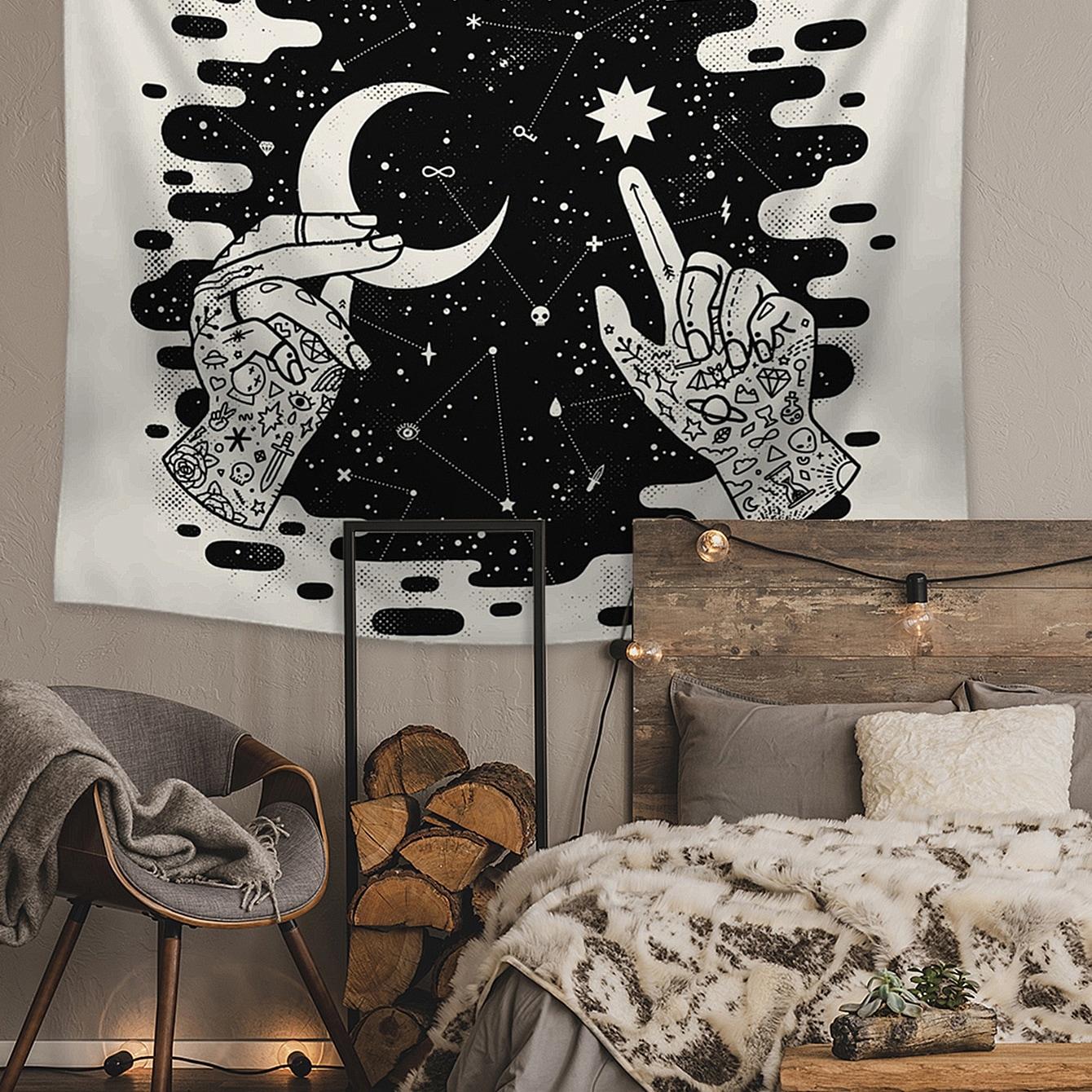 SHEIN / Tapisserie mit Mond & Stern Muster