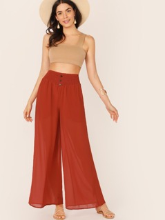 Button Detail Shirred Waist Palazzo Pants