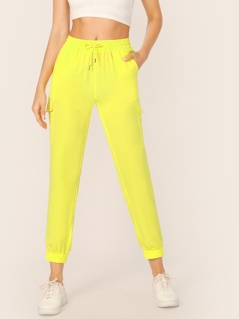 Neon Yellow Pocket Patched Pants