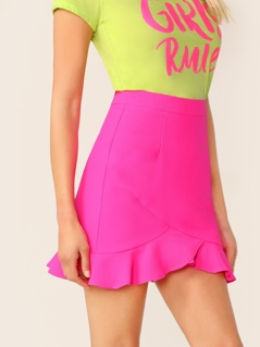 Neon Pink Wrap Ruffle Trim Skirt