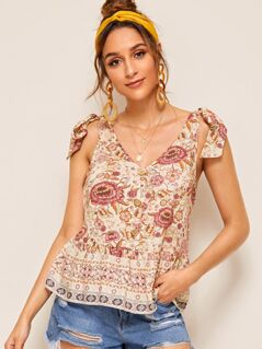 Floral Print Knot Shoulder Button Peplum Top