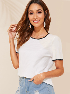 Embroidered Detail Rib-knit Tee