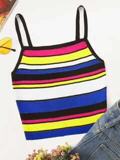 Colorful Stripe Rib-Knit Cami Top