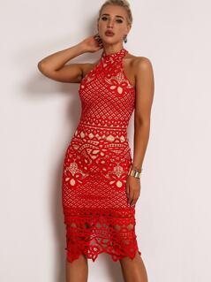 Joyfunear Open Back Guipure Lace Halter Dress
