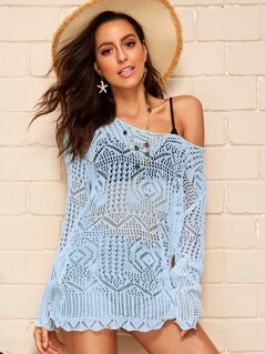 Scallop Trim Crochet Cover Up Without Bra