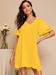 Layered Flutter Sleeve Solid Dress