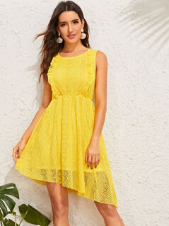 Ruffle Trim Asymmetrical Hem Lace Dress