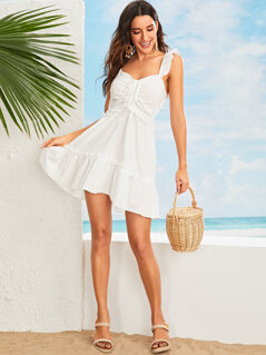 Sweetheart Neck Drawstring Front Ruffle Dress