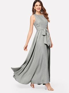 Striped Bow Tie Waist Maxi Dress