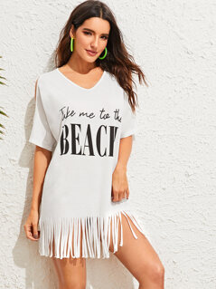 Slogan Print Cold Shoulder Fringe Hem Cover Up