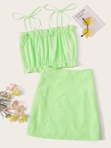 Neon Lime Tie Shoulder Top and Skirt Set