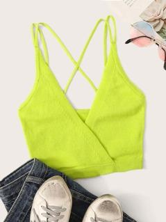 Neon Green Surplice Neck Cami Top