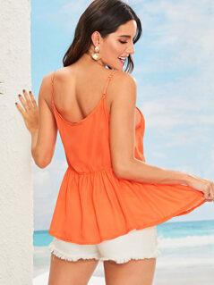 Neon Orange Lace Insert O-ring Detail Smock Cami Top