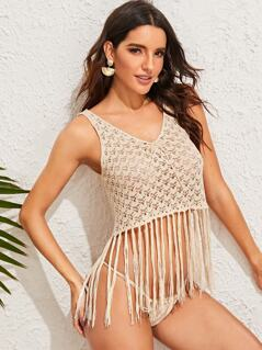Tie Neck Fringe Hem Crochet Cover Up
