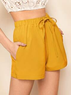 Drawstring Waist Wide Leg Shorts