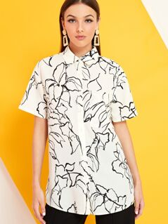 Abstract Floral Print Short Sleeve Shirt