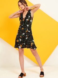 Floral Frill Edge Wrap Tea Dress