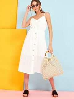Broderie Anglaise Button Front Sun Dress