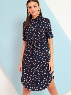 Origami Print Tie Front Shirt Dress
