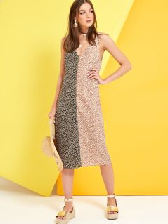 Allover Print Double V Neck Two Tone Dress