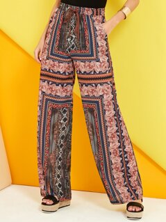 Boho Print Wide Leg Trousers