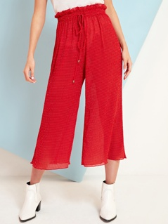 Mini Spot Plisse Wide Leg Trousers