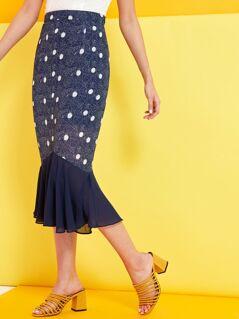 Spot Print Ruffle Hem Skirt