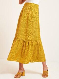 Spot Print Wide Waistband Flounce Hem Skirt