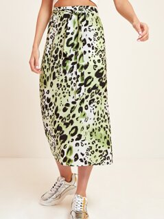 Leopard Print Wide Waistband Self Belted Skirt