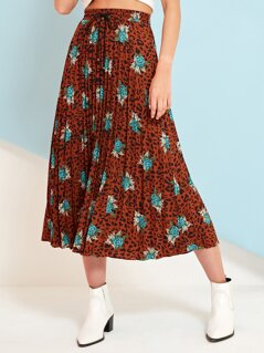 Dalmatian and Floral Drawstring Waist Pleated Skirt