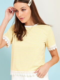 Stripe Tee With Lace Trims