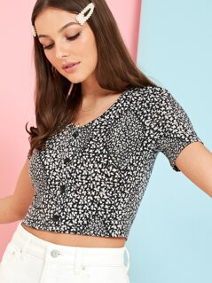 Ditsy Floral Button Crop Tee