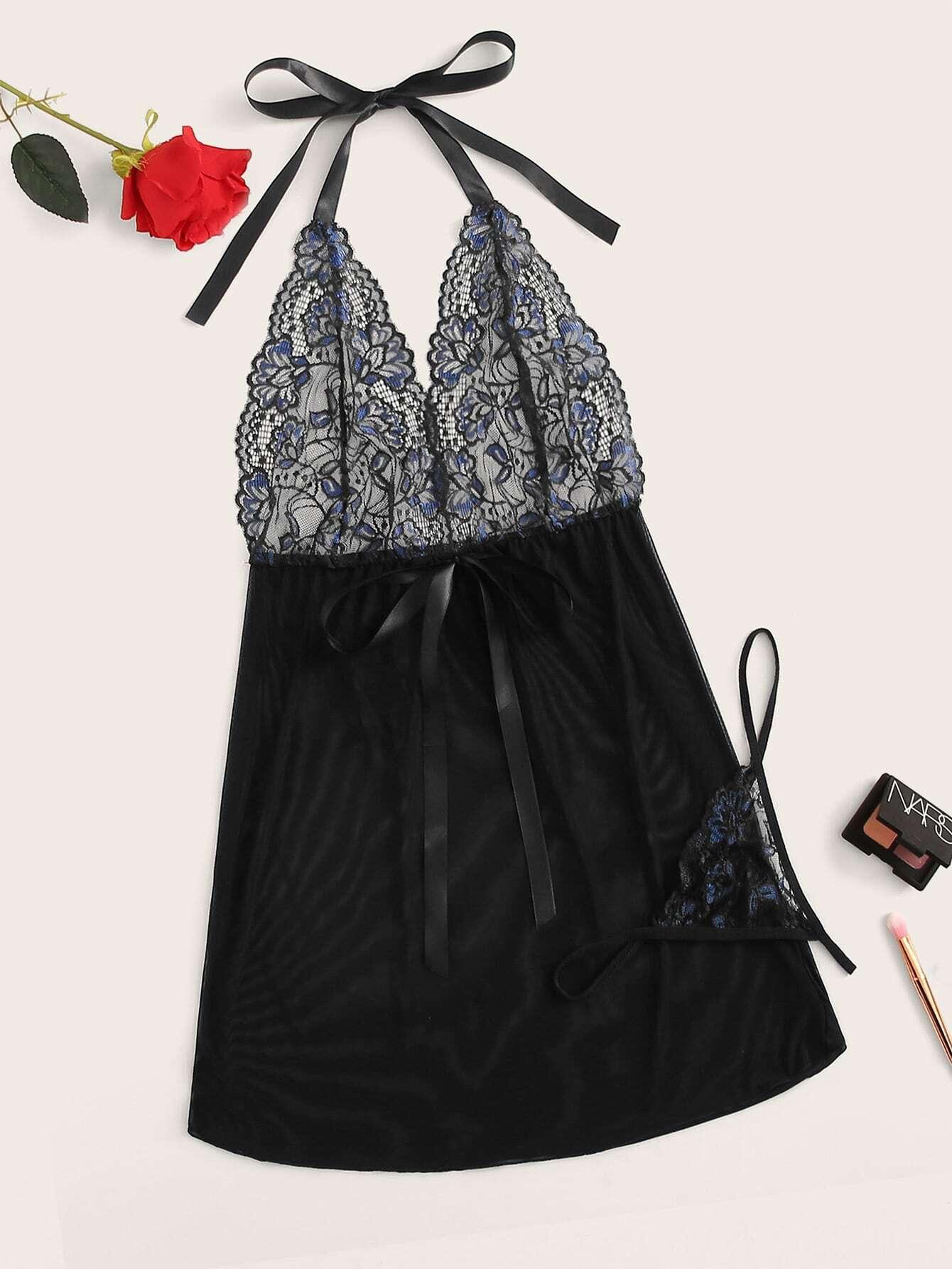 Прозрачное платье размера плюс с кружевом и стринги
