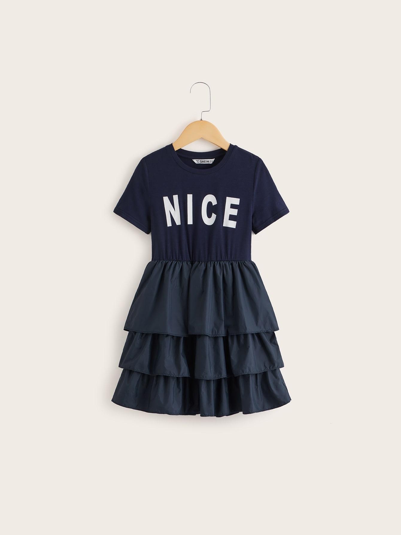 Фото - Платье с текстовым принтом для девочек от SheIn цвет тёмно-синие
