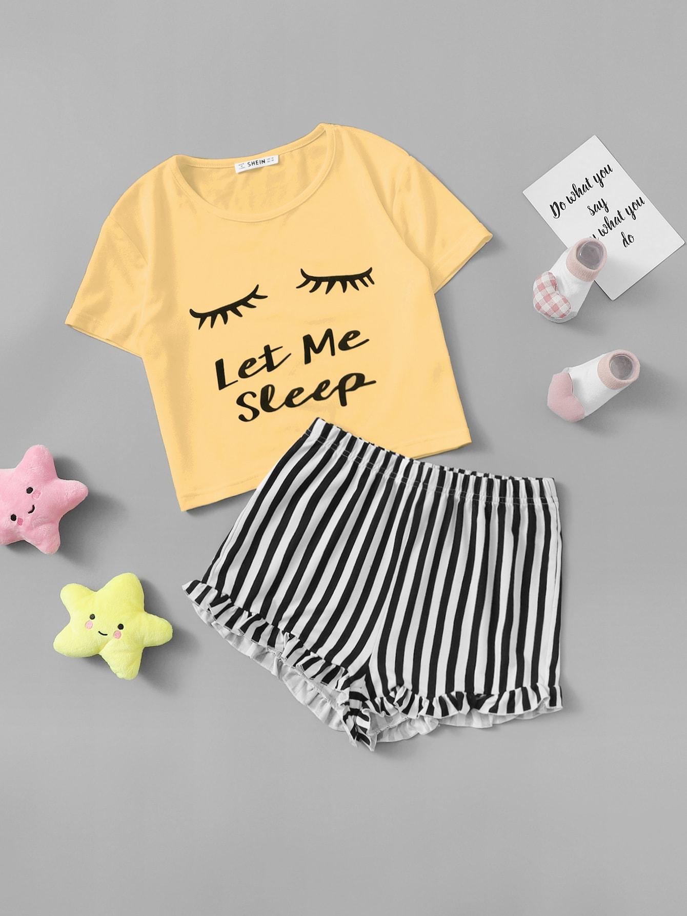 Фото - Футболку с графическим принтом и полосатые шорты со складкой для девочек от SheIn цвет многоцветный