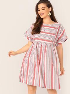 Plus Keyhole Back Cuffed Striped Dress
