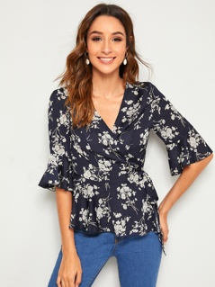 Floral Surplice Neck Ruffle Trim Belted Peplum Top