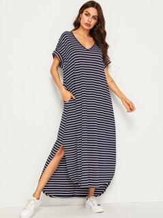 V-neck Striped Pocket Side Curved Hem Dress