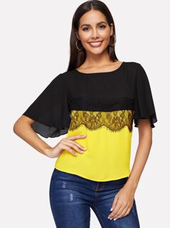 Two Tone Lace Trim Top