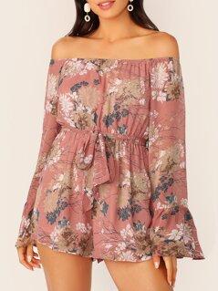 Floral Print Bell Sleeve Belted Bardot Romper
