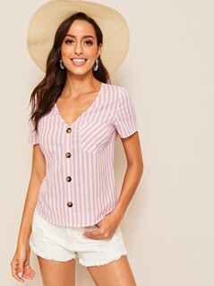 Single Pocket Button Up Striped Blouse