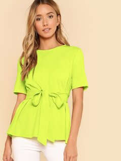 Neon Lime Keyhole Back Belted Top
