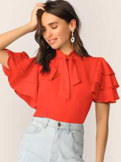 Tie Neck Layered Flutter Sleeve Blouse