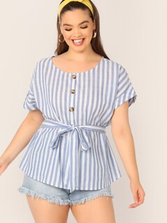 Plus Buttoned Striped Belted Top
