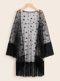 Plus Fringe Hem Sheer Star Mesh Kimono
